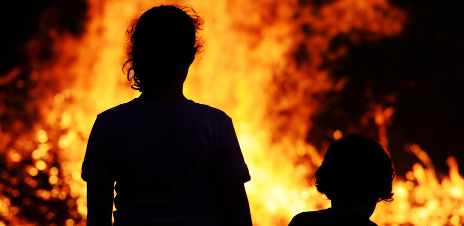 Mother and Child at Forest Fire